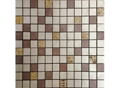 Azulindus & marti s.a Fiori Dorati Mosaico Hojas  Beige-Chocolate Gold