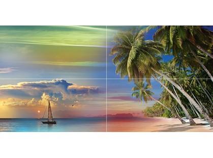Ceramica Classic Ocean Deep Tropical Night Панно P4D290 80х40 (из 4 плиток)