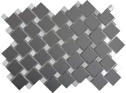 ДСТ Зеркальная плитка Графит матовый + Серебро Гм70С30