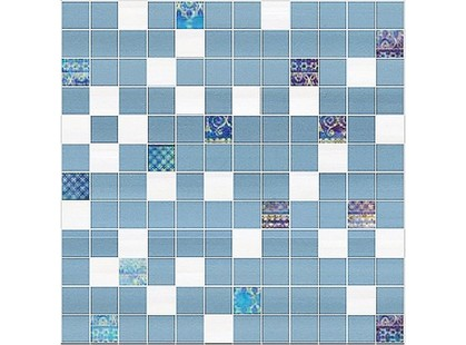 Halcon Ceramicas Cotton, Vega, Viola, Aquarela Aquarela Mosaico Azul-Perla
