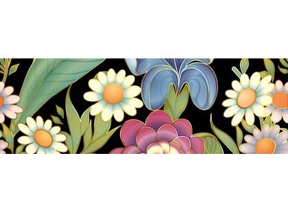Halcon Ceramicas Flowers Cenefa Negro