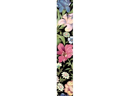 Halcon Ceramicas Flowers Listello Negro