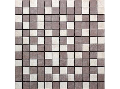 Infinity Ceramic Tiles Ragusa Siena Hojas Mosaico Beige-Chocolate