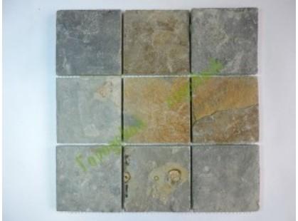 Каменная Китайская Мозаика Камень натуральный на сетке MS0546(4) СЛАНЕЦ серо-ржавый