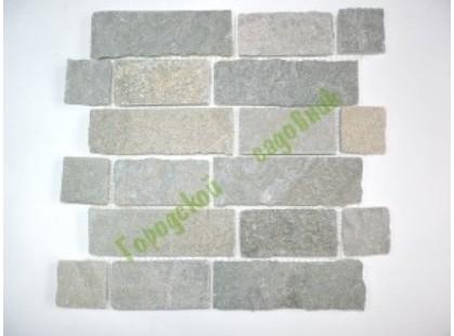 Каменная Китайская Мозаика Камень натуральный на сетке MS0547-51015 СЛАНЕЦ светло-серый