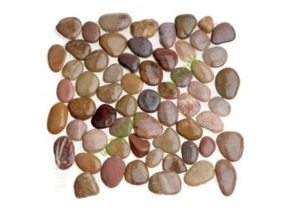 Каменная Китайская Мозаика Камень натуральный на сетке MS8002 ГАЛЬКА розовая