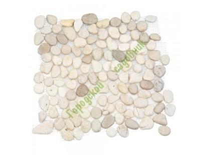 Каменная Китайская Мозаика Камень натуральный на сетке MS8001 ГАЛЬКА белая
