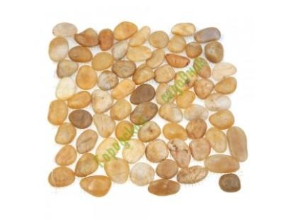 Каменная Китайская Мозаика Камень натуральный на сетке MS00-6HP ГАЛЬКА ГЛАМУР-ГЛЯНЕЦ шлифованная