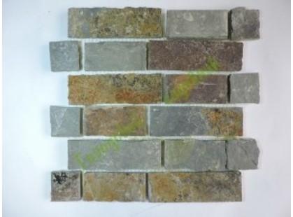 Каменная Китайская Мозаика Камень натуральный на сетке MS0205 GW СЛАНЕЦ ржавый