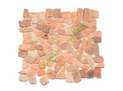 Каменная Китайская Мозаика Камень натуральный на сетке MS7015S МРАМОР розовый квадратный