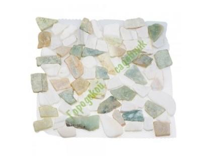 Каменная Китайская Мозаика Камень натуральный на сетке MS-WB3 МРАМОР бело-зелёный квадратный
