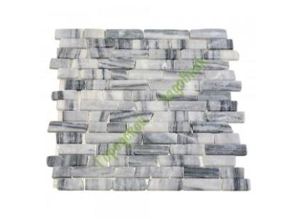 Каменная Китайская Мозаика Камень натуральный на сетке MS0203 МРАМОР ПРЕМИУМ бело-чёрный
