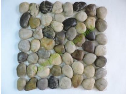 Каменная Китайская Мозаика Камень натуральный на сетке MS00-5HP ГАЛЬКА ГЛАМУР-ГЛЯНЕЦ матовая