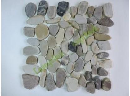 Каменная Китайская Мозаика Камень натуральный на сетке MS00-5 BCP ГАЛЬКА овал бел/корич/серая матовая