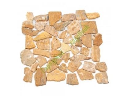 Каменная Китайская Мозаика Камень натуральный на сетке MS7025 МРАМОР КРУПНЫЙ песочный квадратный