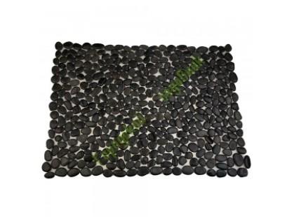 Каменная Китайская Мозаика Камень натуральный на сетке Коврик MS00-3P ГАЛЬКА чёрная