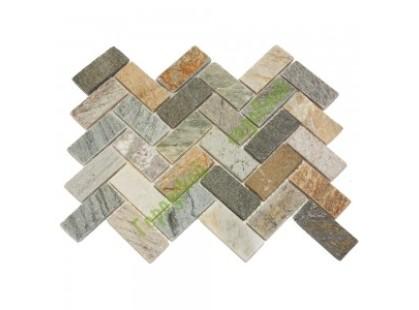Каменная Китайская Мозаика Камень натуральный на сетке MS0516 ГРАНИТ кирпич-ёлочка серый