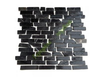 Каменная Китайская Мозаика Камень натуральный на сетке MS0204 МРАМОР ПРЕМИУМ чёрный