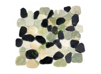 Каменная Китайская Мозаика Камень натуральный на сетке MS-WB2 МРАМОР зелёно-белый квадратный