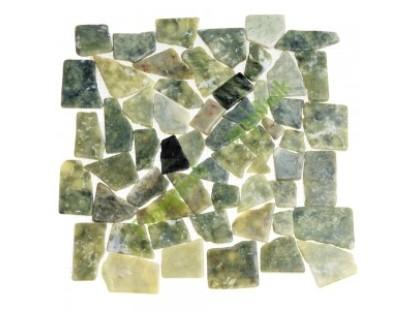 Каменная Китайская Мозаика Камень натуральный на сетке MS7042 МРАМОР тёмно-зелёный квадратный