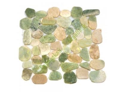 Каменная Китайская Мозаика Камень натуральный на сетке MS9002 BC МРАМОР бело-зелёный круглый