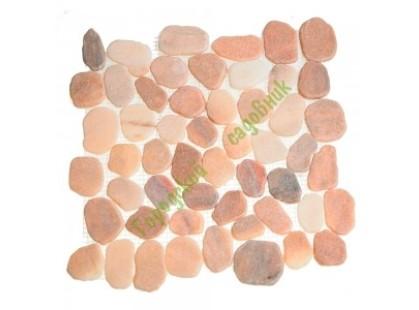 Каменная Китайская Мозаика Камень натуральный на сетке MS7015 BC МРАМОР розовый круглый