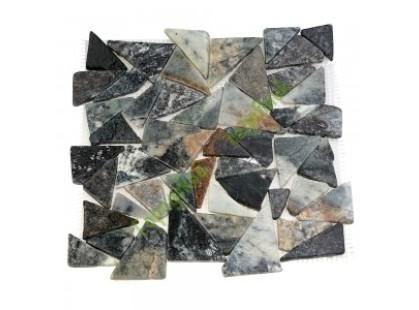 Каменная Китайская Мозаика Камень натуральный на сетке MS-TRI МРАМОР серый треугольный
