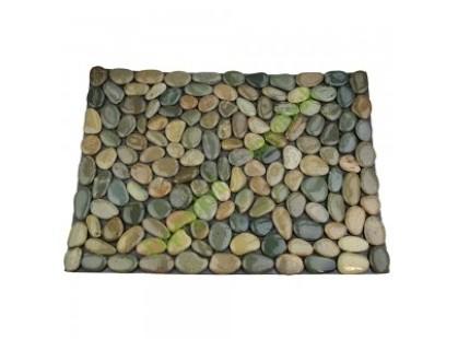 Каменная Китайская Мозаика Камень натуральный на сетке Коврик НАТУР ГАЛЬКА НА РЕЗИНЕ MS8005 зелёно-серая