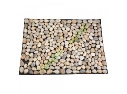 Каменная Китайская Мозаика Камень натуральный на сетке Коврик НАТУР ГАЛЬКА НА РЕЗИНЕ MS00-1 бело-серая