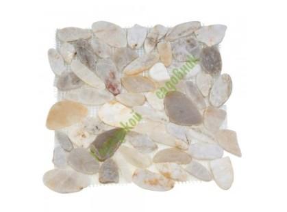 Каменная Китайская Мозаика Камень натуральный на сетке MS00-1 BCP ГАЛЬКА овал белая шлифованная