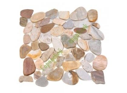 Каменная Китайская Мозаика Камень натуральный на сетке MS00-ST BCP ГАЛЬКА овал бел/сер/красная