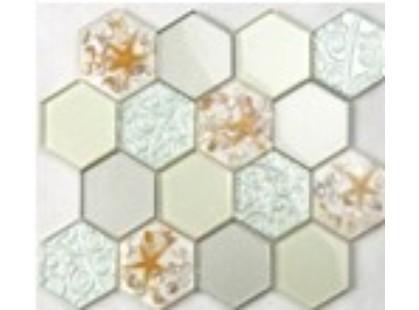 Мозаика Китайская мозаика HLJ10 (шестиугольный стеклянный микс с ракушками)