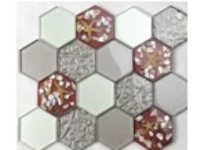 Мозаика Китайская мозаика HLJ09 (шестиугольный стеклянный микс с ракушками)