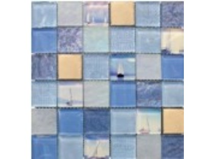 Мозаика Китайская мозаика Marine Blue (стекло, металл)