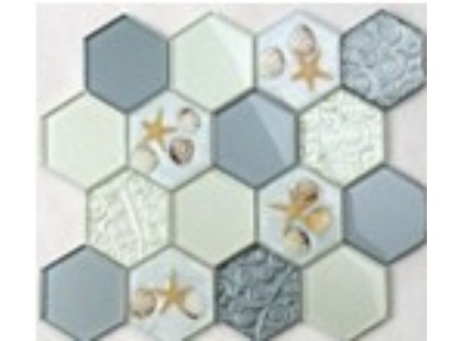 Мозаика Китайская мозаика HLJ07 (шестиугольный стеклянный микс с ракушками)